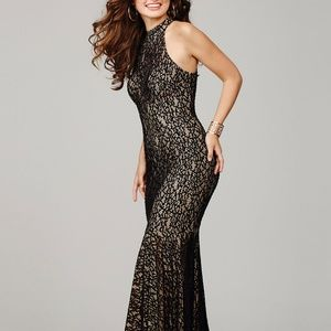 Jovani 25100 halter lace fitted evening gown